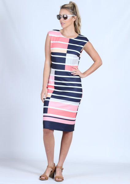 WA0203TB Stripe Abstract Cap Sleeve Dress (Pack) New Arrival