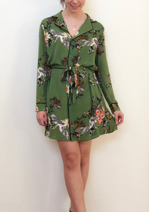 XW16186SS Green Floral Kimono  (Pack)