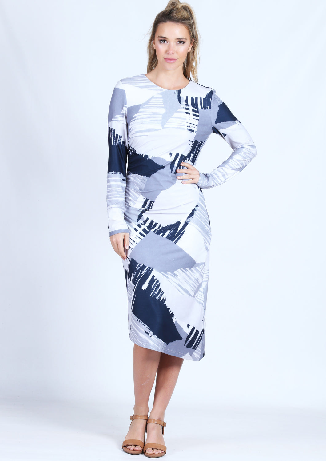 WA0158TB Printed Long Sleeve Dress (Pack) New Arrival