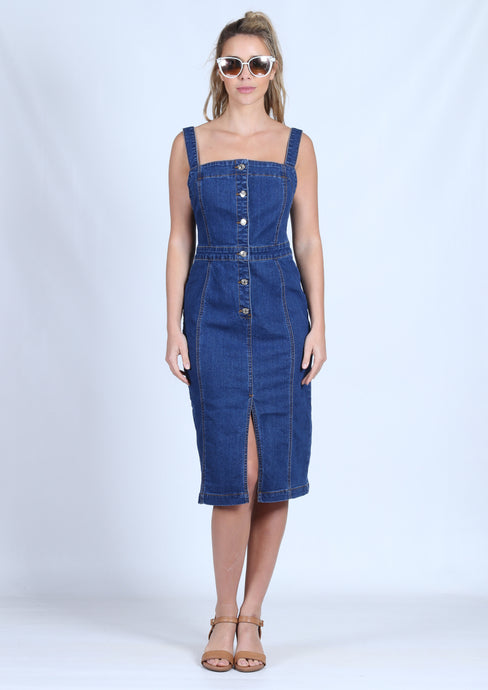 YW2185SS Denim Mid Length Dress (Pack)