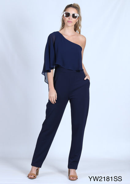 YW2181SS One Shoulder Jumpsuit (Pack) New Arrival
