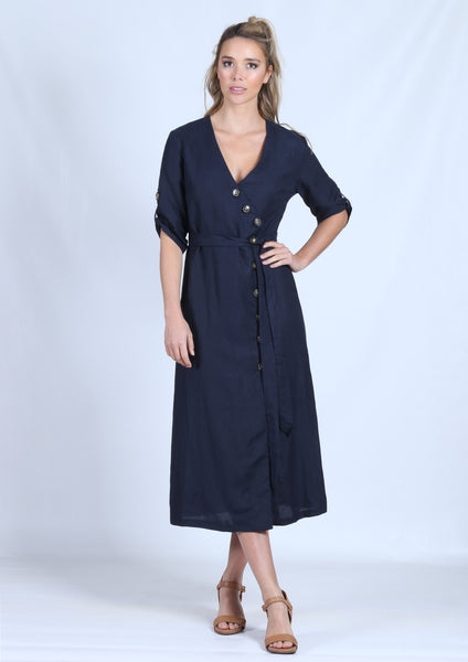 YW2122SS Button Detailed Mid Length Dress (Pack) New Arrival