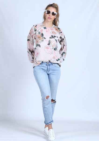YW2198-1SS Rose Printed Long Sleeve Top(Pack) New Arrival