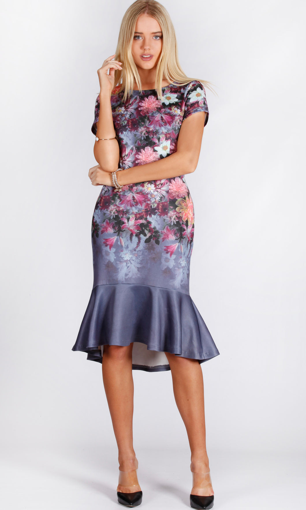 HS0234-1TB Floral Body Con Frilled Hem Dress (Pack)