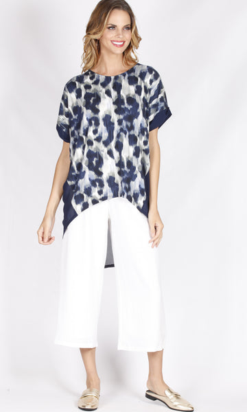 TG2526NC Loose Fit Navy Leopard Top (Pack)