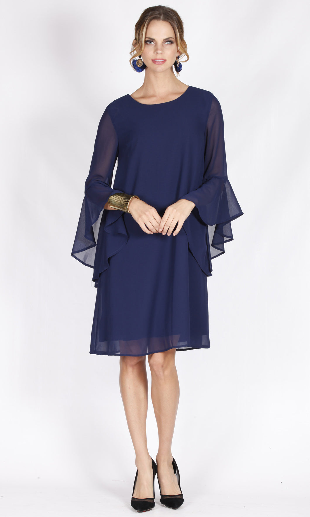 VS7361NC Blue Chiffon Ruffle Sleeve Dress (Pack)