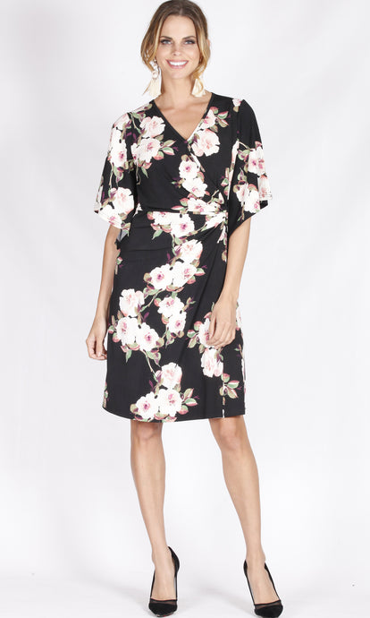 BD105314-29TB Bell Sleeve Floral Wrap Style Dress (Pack)