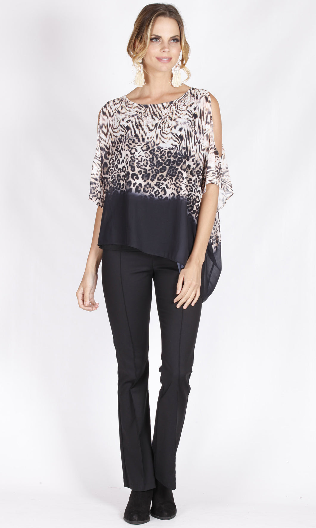 BS1016063-35NC Animal Print Asymmetric Loose Fit Chiffon Top (Pack)