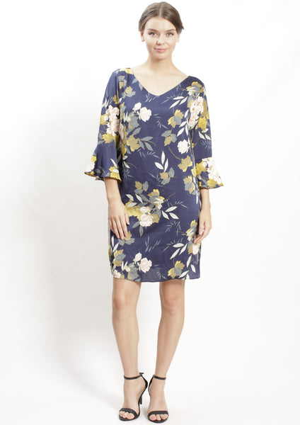 VS7016-2NC Floral Print Ruffle Sleeve Dress (Pack) New Arrivals