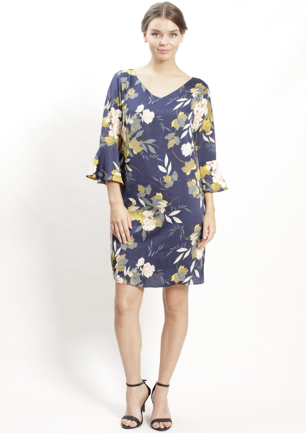 VS7016-2NC Floral Print Ruffle Sleeve Dress (Pack)