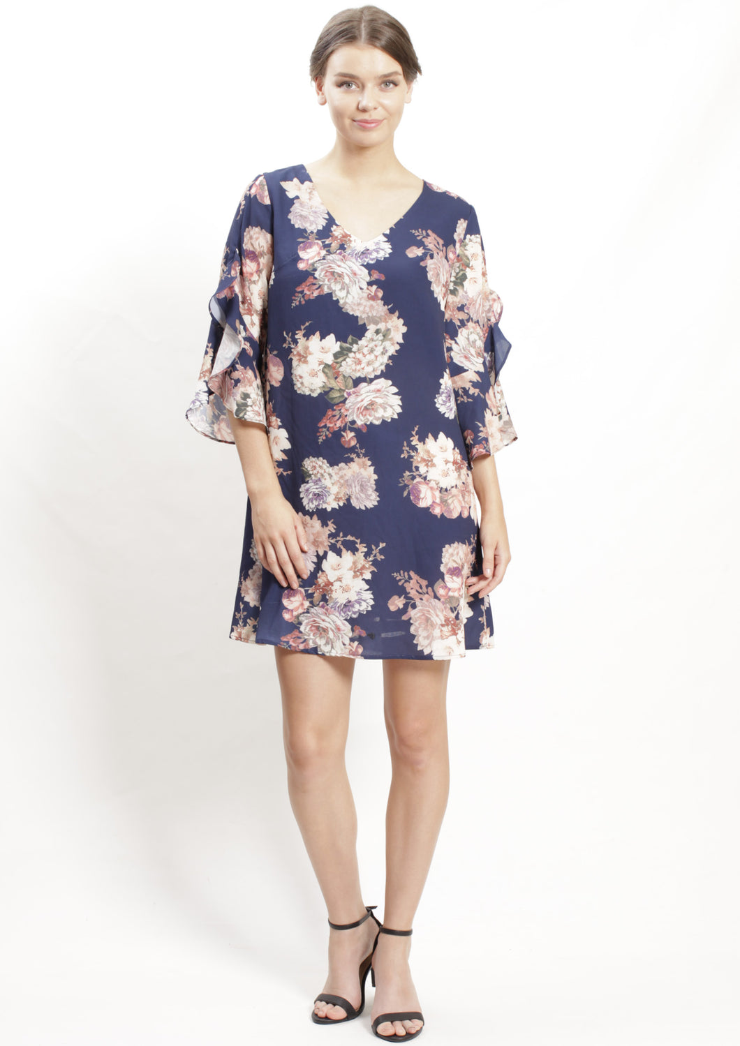 RV0998-6NC Floral Print Ruffle Sleeve Dress (Pack)