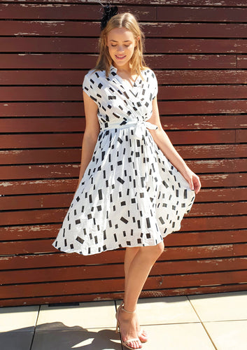 ZW230SS white/black cotton print dress(Pack)