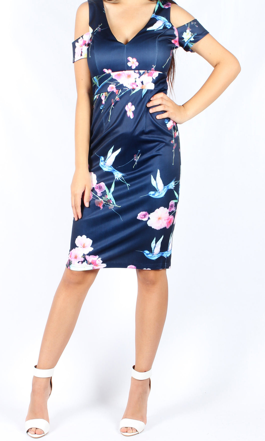 RC0745-14TB Navy Garden Midi Dress (Pack)