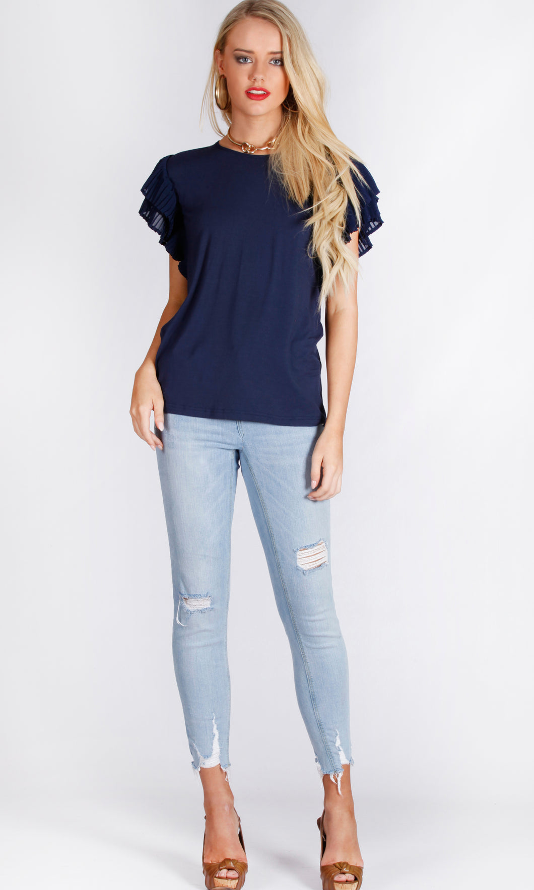 Pleated Double Layered Sleeve TOP