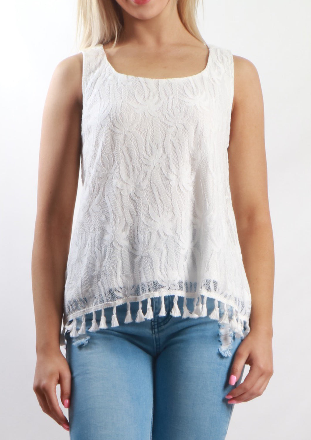 V1109-3SS Palm Tree Lace Sleeveless Top (Pack) New Arrival