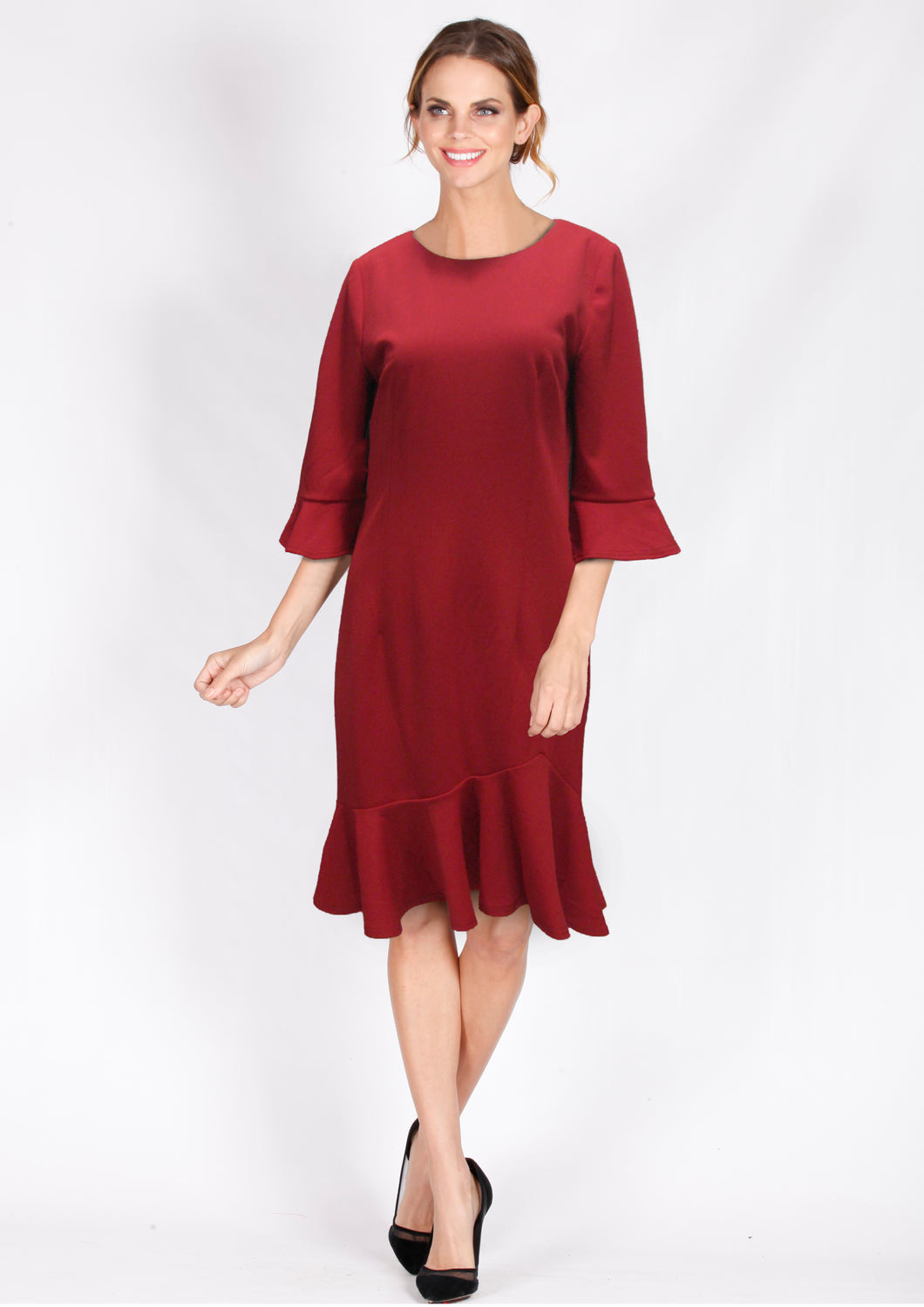 TG2534-1TB 3/4 Sleeve Fluted Hem Dress (Pack) New Arrival