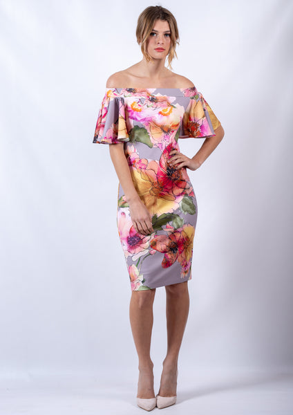 WA0247-1TB Watercolour Floral Off Shoulder Dress(Pack) New Arrival