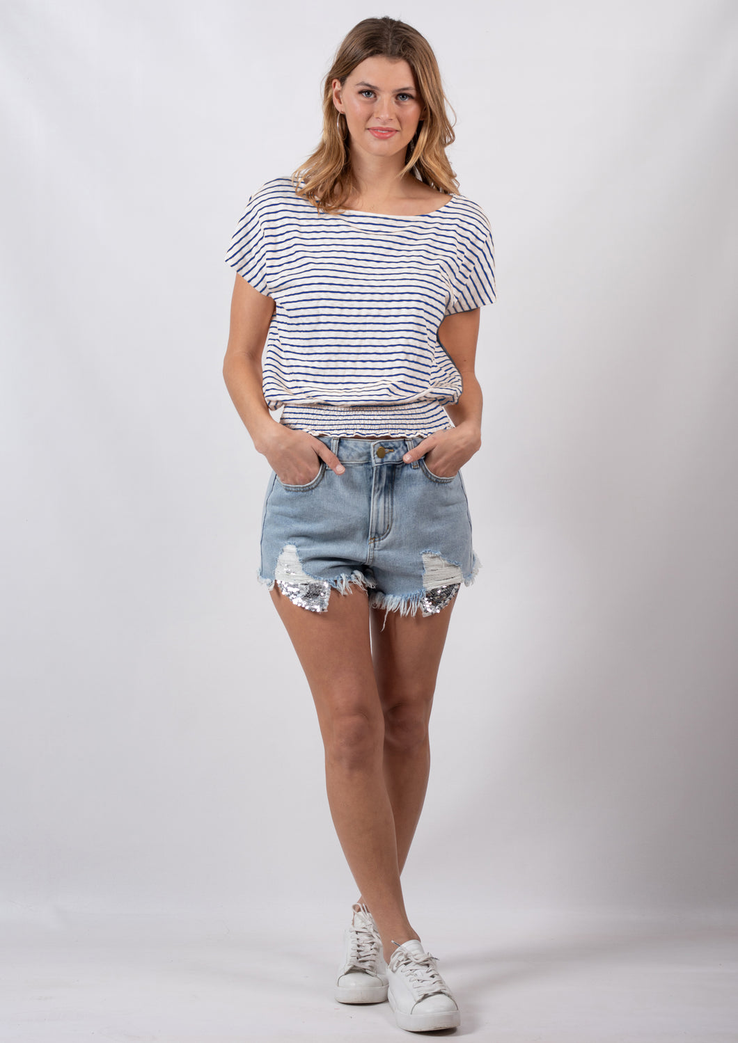 G016SS Stripe Cropped Shirt With Shirring (Pack)