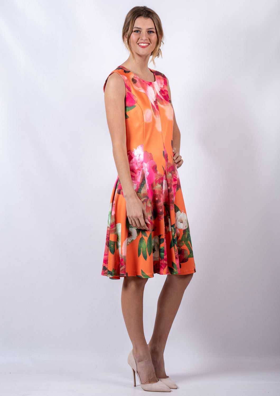WA0205TB Orange Floral Dress (Pack)