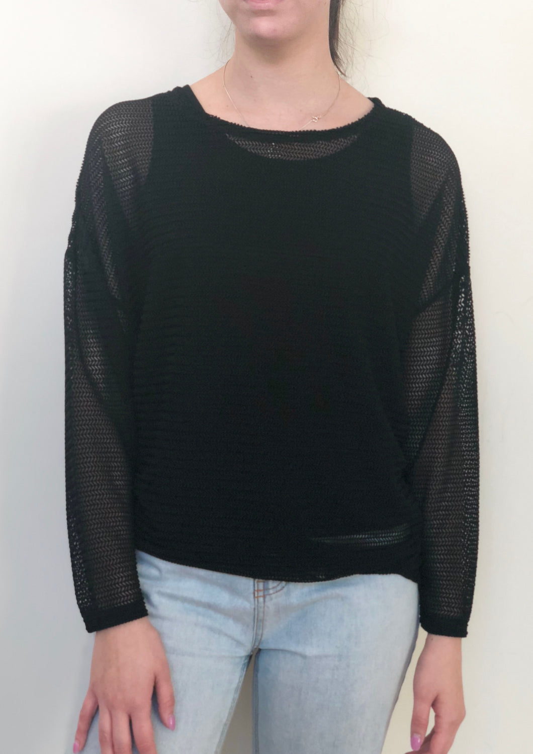 YW17168TB Mesh Long Sleeve Knit Top (Pack)