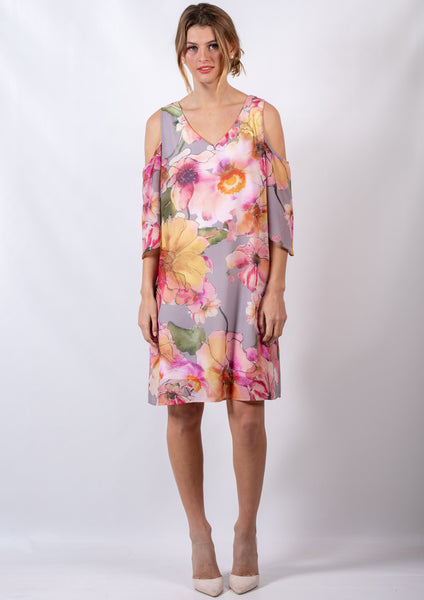 RV0991-6NC Watercolour Floral Cold Shoulder Shift Dress (Pack) New Arrival
