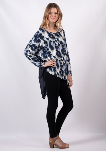 VY00118NC Navy Leopard Long Sleeve Top (Pack)