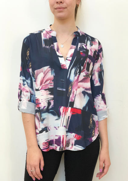 HS13021-153SS Abstract Printed Johny Collar Top  (Pack) New Arrival