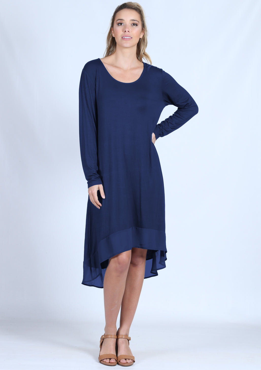 Copy of A071NC Long Sleeve Tunic Dress (Pack)