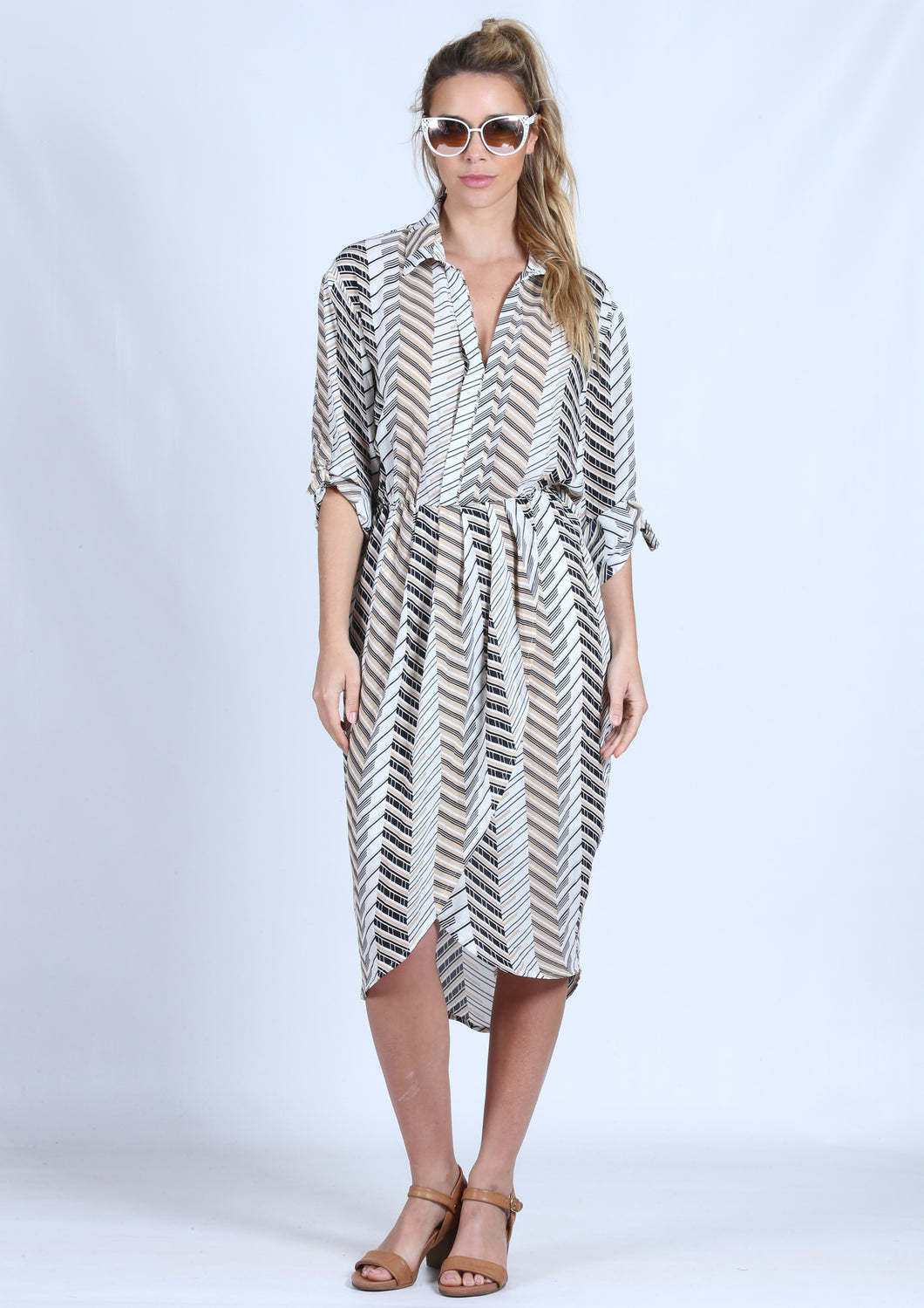 LV313-8SS Shirt Dress With Tuliped Detail (Pack)