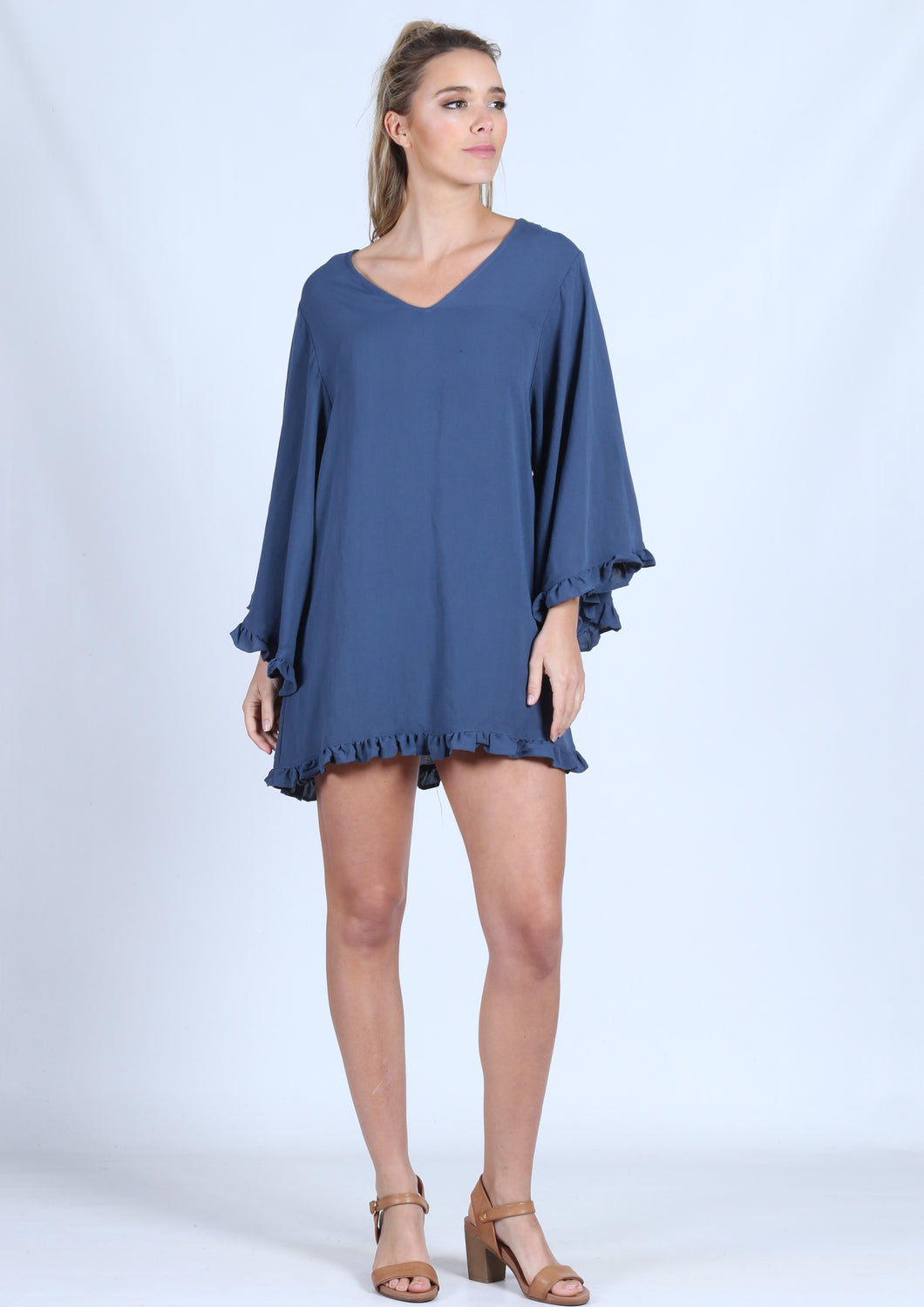 WA0227NC V-Neck Relaxed Frill  Detailed Tunic (Pack)