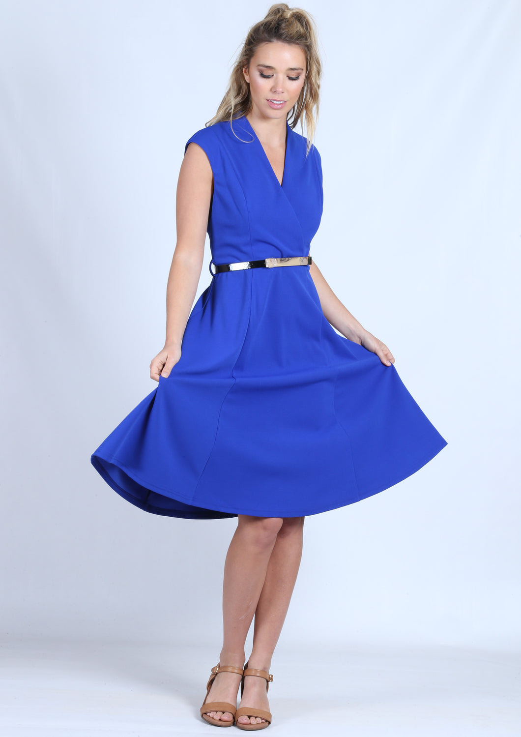 WA0204TB Sleeveless Wrap Front  Belted Dress (Pack)