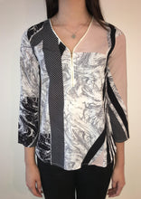 XW15208-10SS Zip Detailed Marble Printed Top (Pack) New Arrival