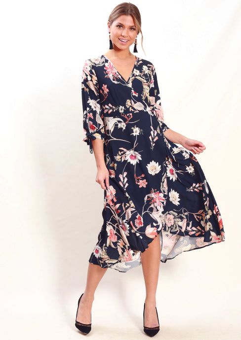 VS7245-1TB Navy Floral Wrap Dress (Pack) New Arrival