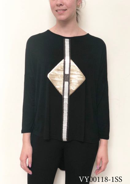VY00118-1SS Silver And Gold Detailed Long Sleeve Top (Pack) New Arrival