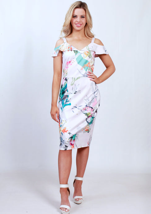 VS7200-1TB Bright Printed Cold Shoulder Midi Dress(Pack) New Arrival