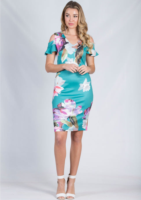 VS7246-2TB Teal Floral Cold Shoulder Midi Dress (Pack) New Arrival