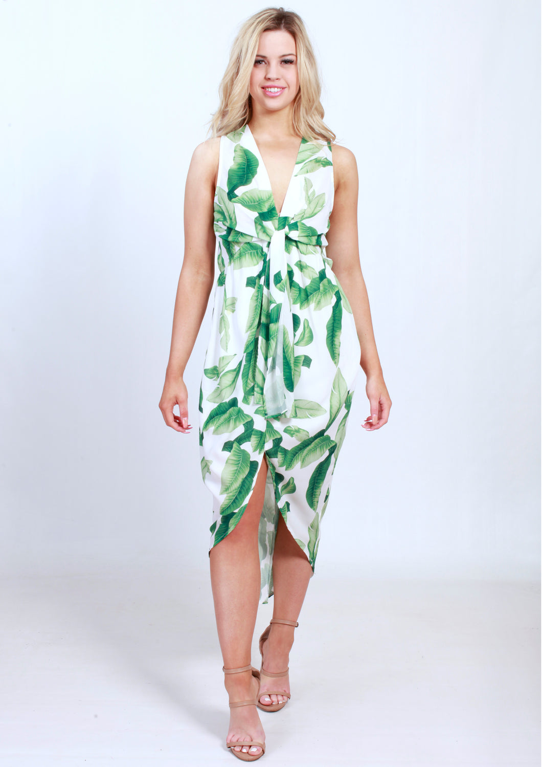 VY00213-1SS Tie Front Leaf Printed Dress (Pack)