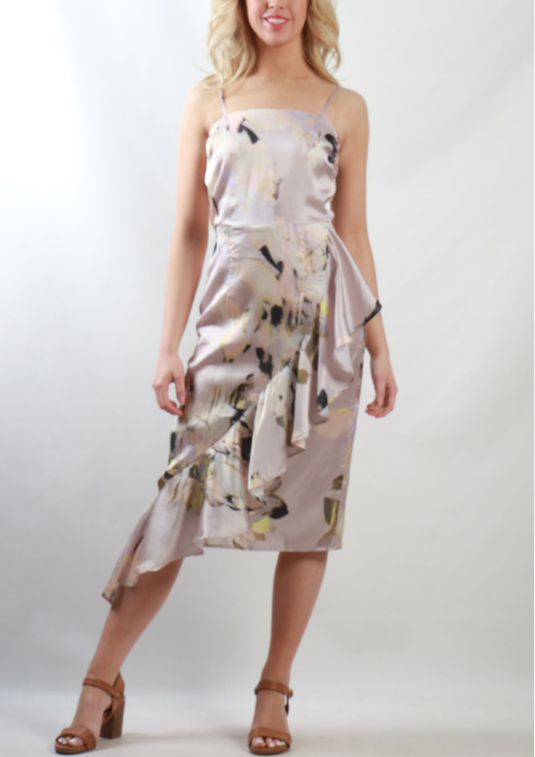 VY0371SS Ruffle Detailed Floral Midi Dress (Pack)