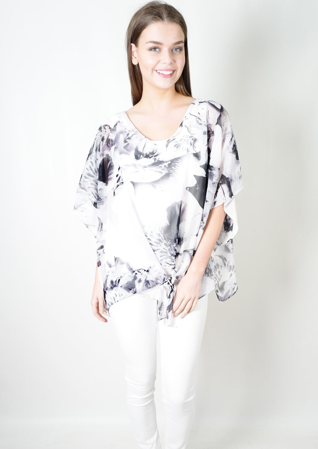 WA2138-1NC Grey Floral Flowy Top (Pack) New Arrival