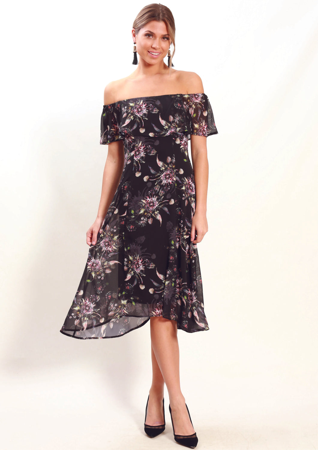 WA0229-2TB Ruffle Overlay Floral Off Shoulder Dress (Pack)