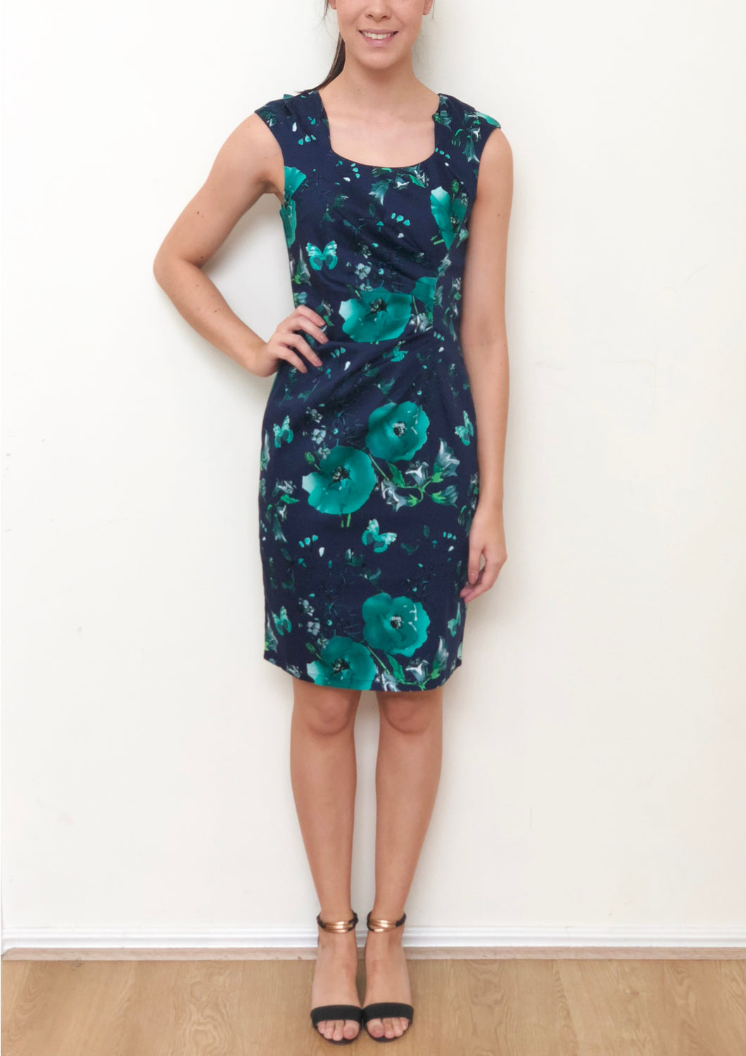 VS0015-31TB Dark Navy Teal Floral Dress (Pack) New Arrival
