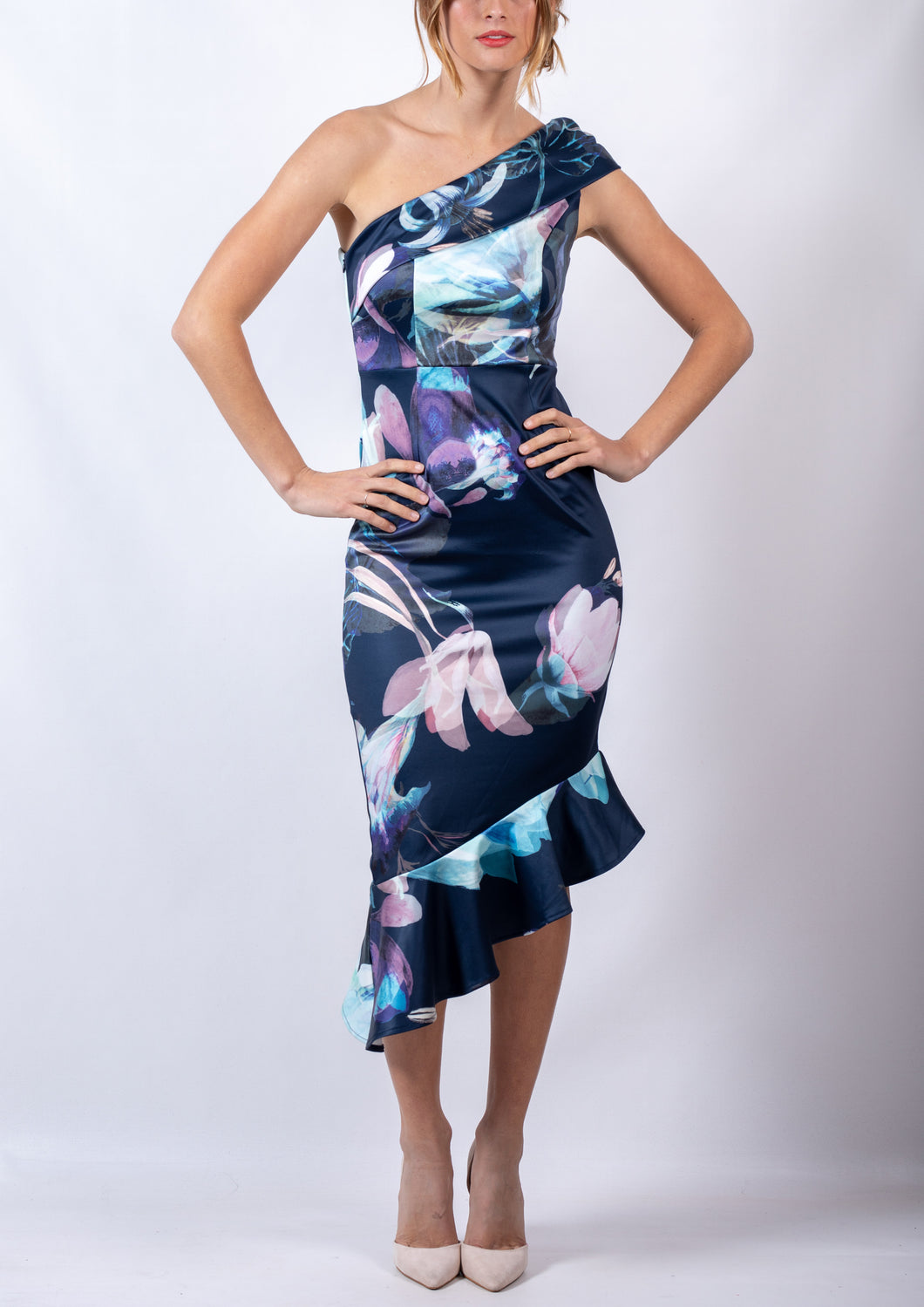 RV1023-W1TB Smokey Floral One Shoulder Dress (Pack)