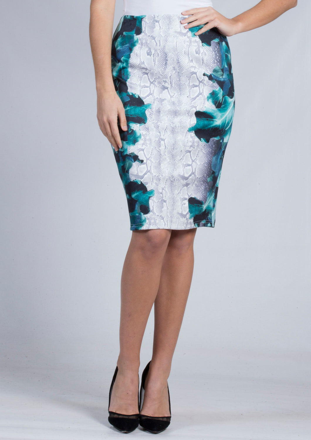BS1116032-10TB Snake & Leaf Print Pencil Skirt (Pack)