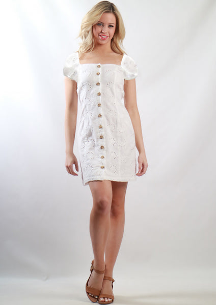 SS051MD Eyelet Lace Button Dress (Pack) New Arrival