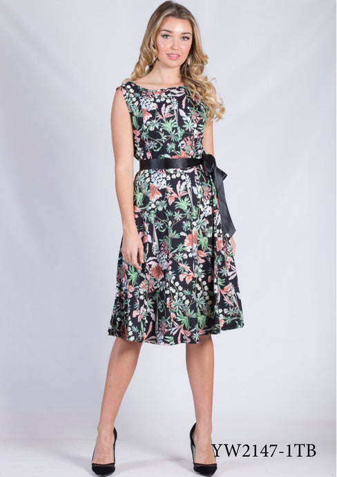 YW2147-1TB Capped Sleeved Floral Dress (Pack) New Arrival