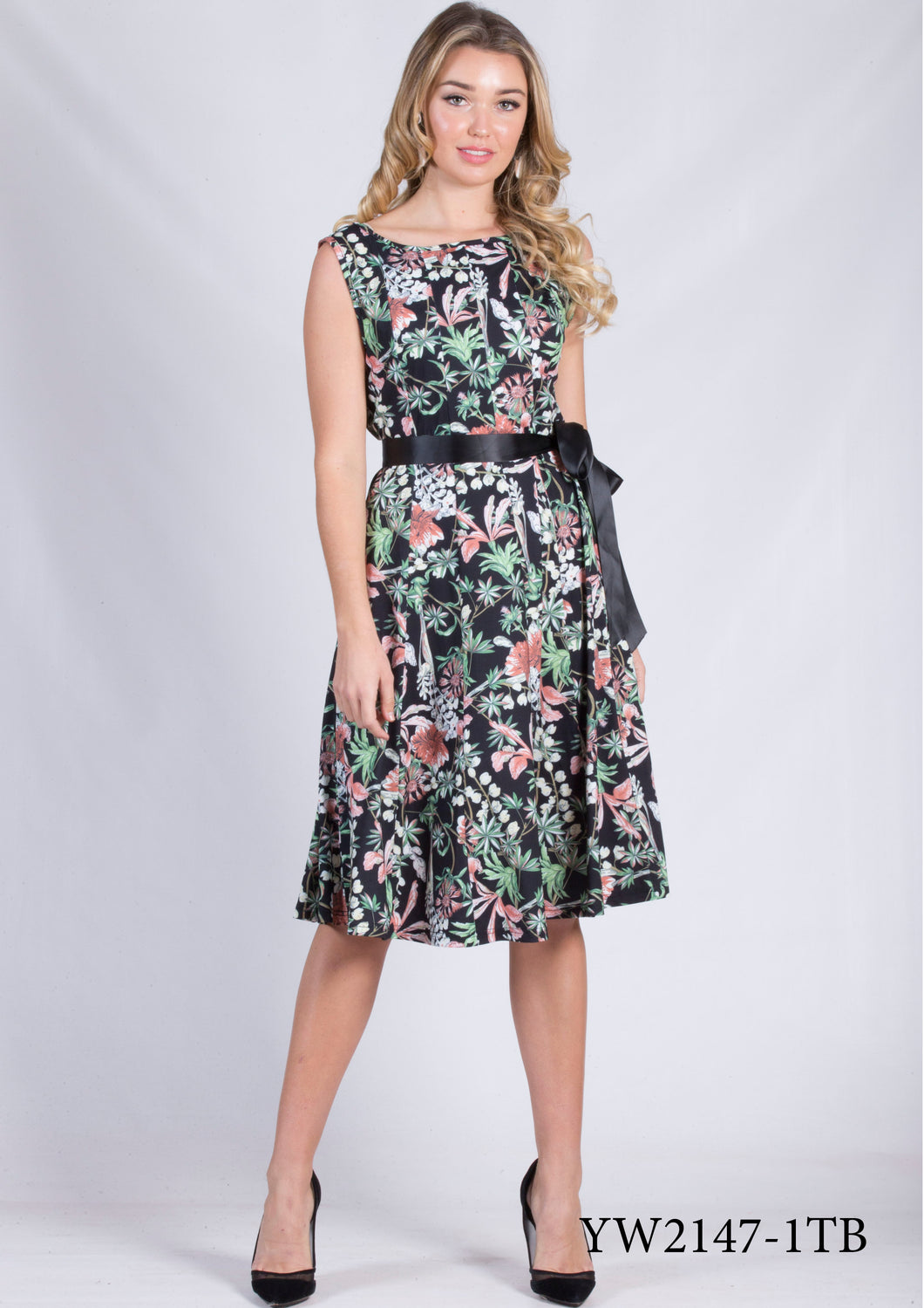 YW2147-1TB Capped Sleeved Floral Dress (Pack)