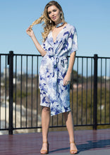 WA2067TB Blue Floral Printed Gathered Dress (Pack)