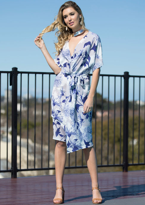 WA2067TB Blue Floral Printed Gathered Dress (Pack) New Arrival