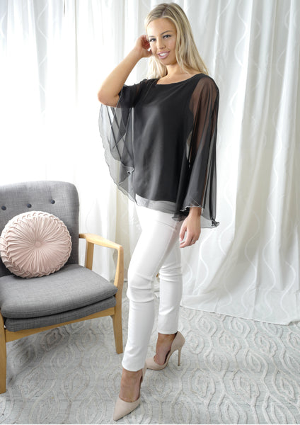 VY0397TB Chiffon Overlay Top (Pack) On Sale