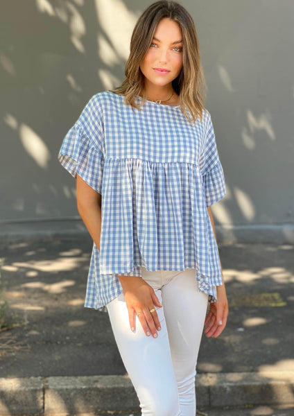 LA0743SS Gingham Top (Pack) New Arrival